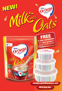 FREE 3-tier container set with every 2 pack purchase of Omega Plus Milk with Oats!
