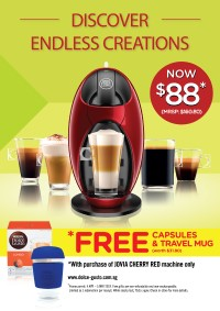 FREE NESCAFÉ® Dolce Gusto® Glass Mug & 1 box of Lungo capsules bundle with every JOIVA RED
