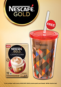 Grab a limited edition NESCAFÉ tumbler with every promo pack of NESCAFÉ GOLD purchased