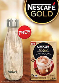 Grab a limited edition NESCAFÉ thermal flask with every promo twin-pack of NESCAFÉ GOLD purchased!