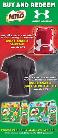 Free Under Armour Merchandise when you purchase MILO® Nutri G or MILO® Peng
