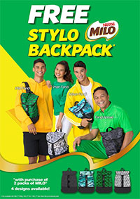 Free Stylo MILO® Backpack*, available in 4 attractive designs!