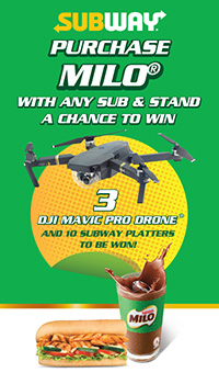 Win the DJI Mavic Pro Drone when you purchase any Subway Sandwich and MILO® Combo
