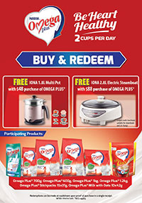 Redeem a Free IONA Multi Pot or IONA Electric Steamboat with purchase of OMEGA PLUS products!