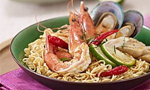 Dry Tom Yam Seafood Noodles