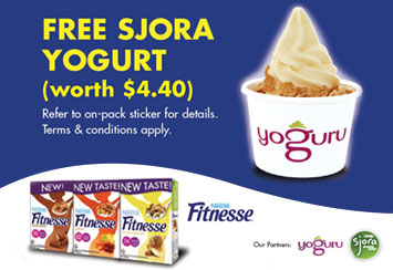 FREE SJORA Mango Peach Yogurt Cup (worth $4.40) with every purchase of FITNESSE Cereals!
