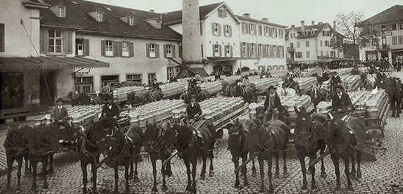 milk arrival in Cham, Switzerland'