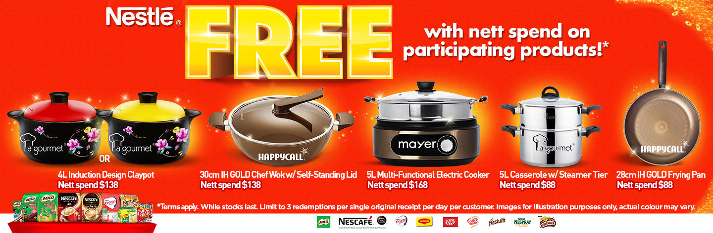 Redeem free cookware with Nestlé participating products